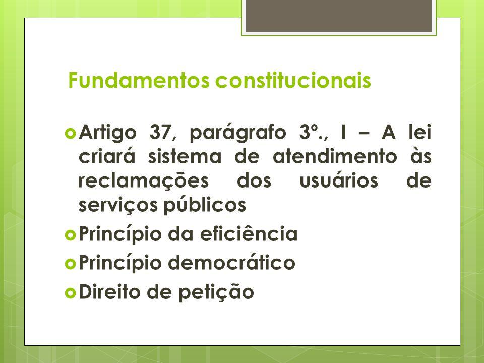 Fundamentos constitucionais Artigo 37, parágrafo 3º., I – A lei criará sistema de atendimento às reclamações dos usuários de serviços públicos Princíp