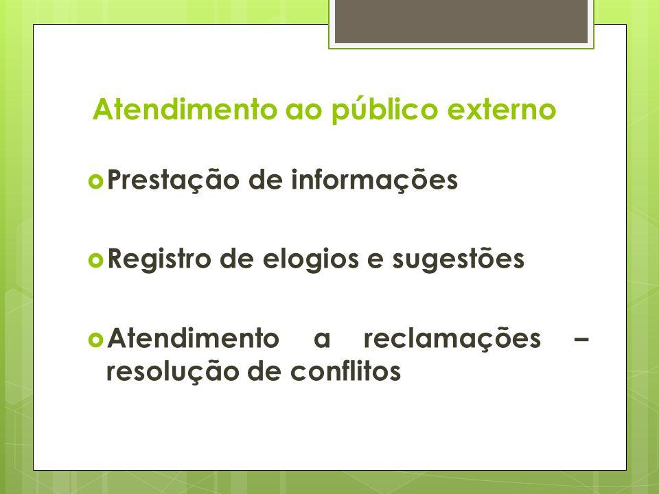 Atendimento ao público externo Prestação de informações Registro de elogios e sugestões Atendimento a reclamações – resolução de conflitos