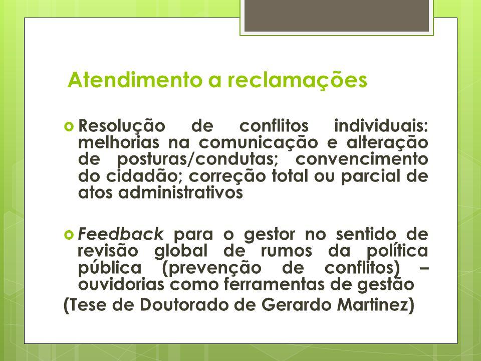 Atendimento a reclamações Resolução de conflitos individuais: melhorias na comunicação e alteração de posturas/condutas; convencimento do cidadão; cor
