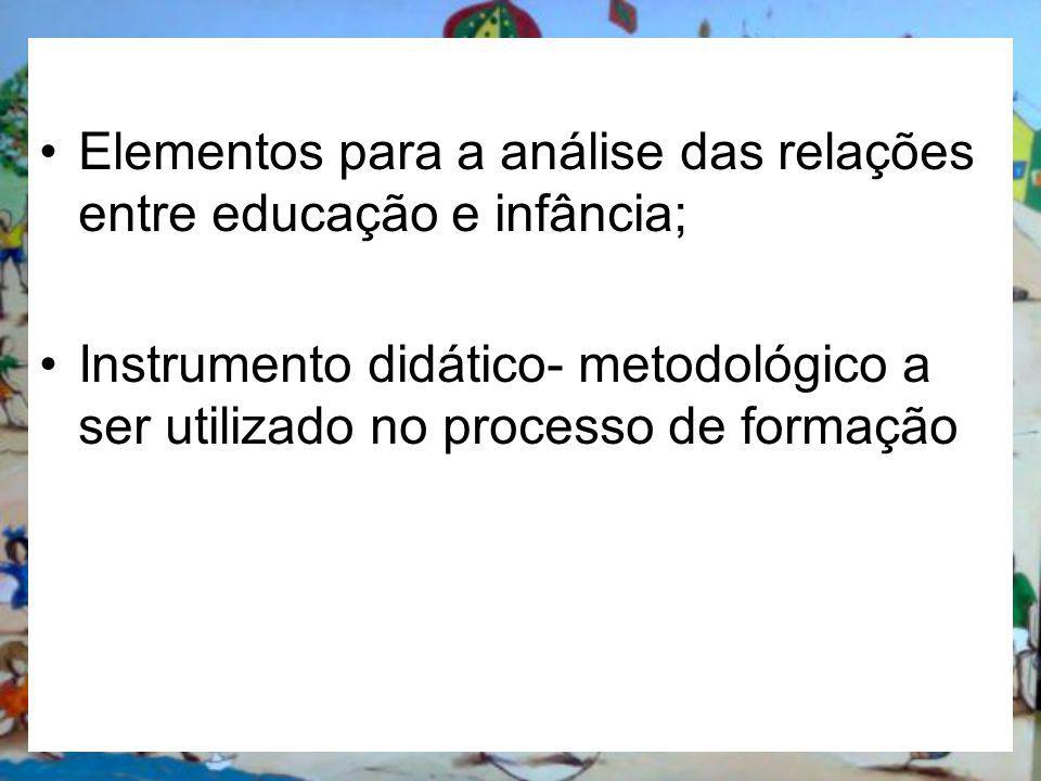 Elementos para a análise das relações entre educação e infância; Instrumento didático- metodológico a ser utilizado no processo de formação