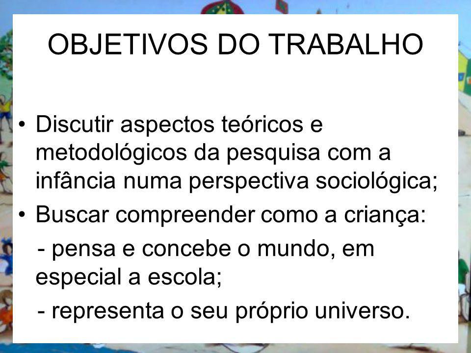 OBJETIVOS DO TRABALHO Discutir aspectos teóricos e metodológicos da pesquisa com a infância numa perspectiva sociológica; Buscar compreender como a cr