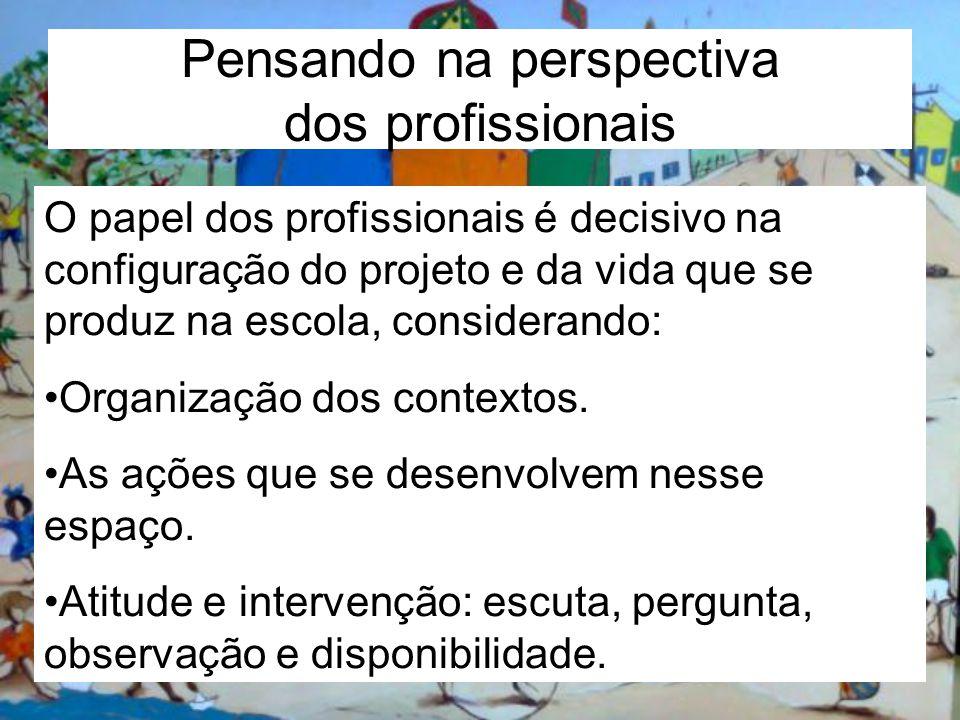 Pensando na perspectiva dos profissionais O papel dos profissionais é decisivo na configuração do projeto e da vida que se produz na escola, considera
