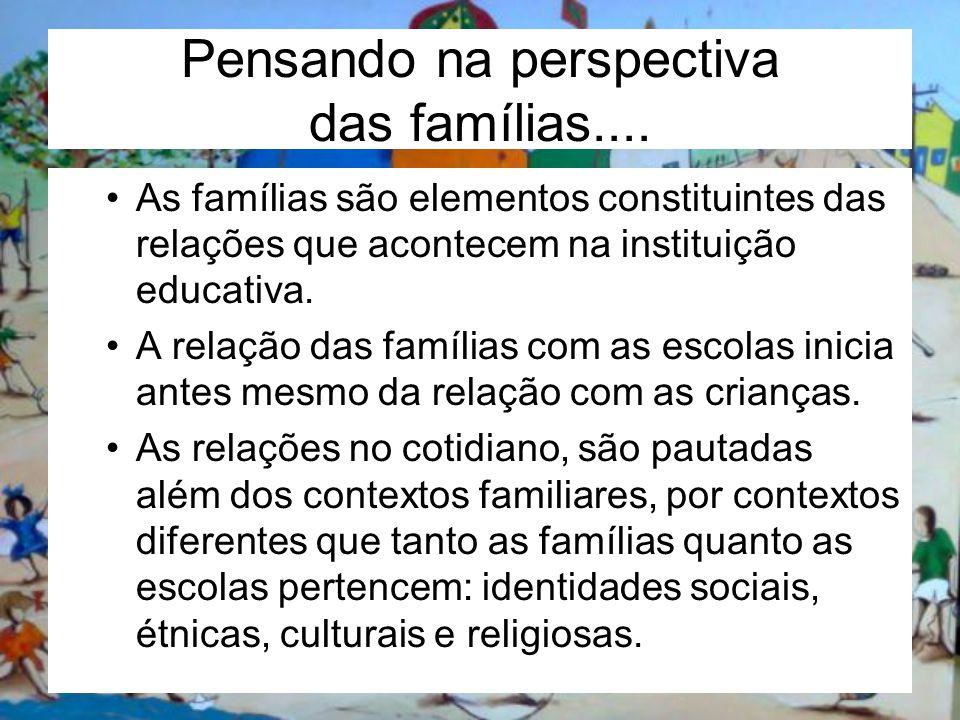 Pensando na perspectiva das famílias.... As famílias são elementos constituintes das relações que acontecem na instituição educativa. A relação das fa