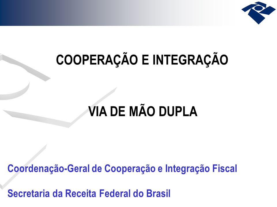COOPERAÇÃO E INTEGRAÇÃO VIA DE MÃO DUPLA Coordenação-Geral de Cooperação e Integração Fiscal Secretaria da Receita Federal do Brasil