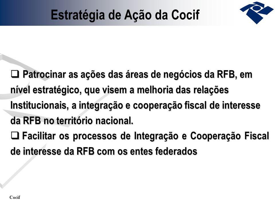 Cocif Patrocinar as ações das áreas de negócios da RFB, em nível estratégico, que visem a melhoria das relações Institucionais, a integração e coopera