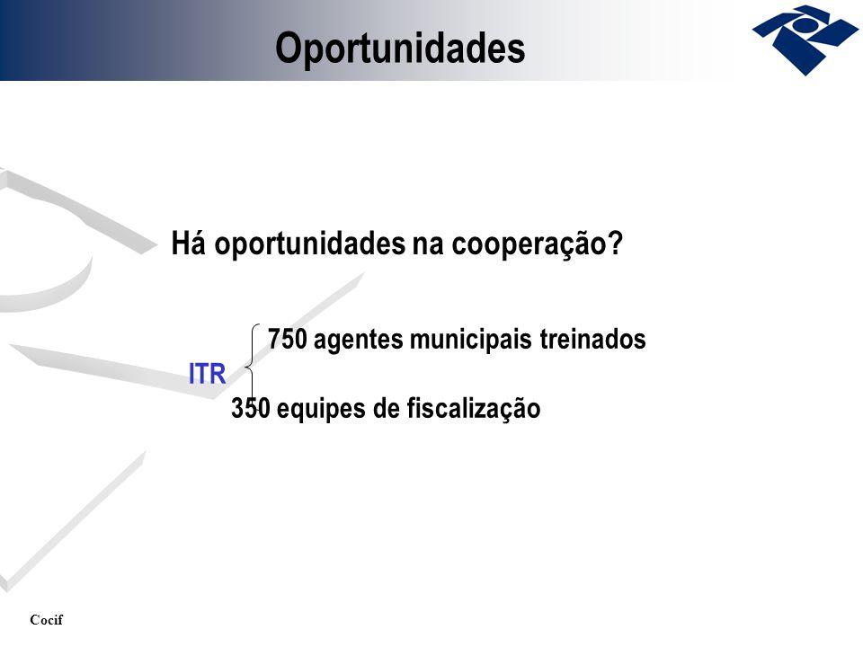 Cocif Oportunidades Há oportunidades na cooperação? 750 agentes municipais treinados ITR 350 equipes de fiscalização