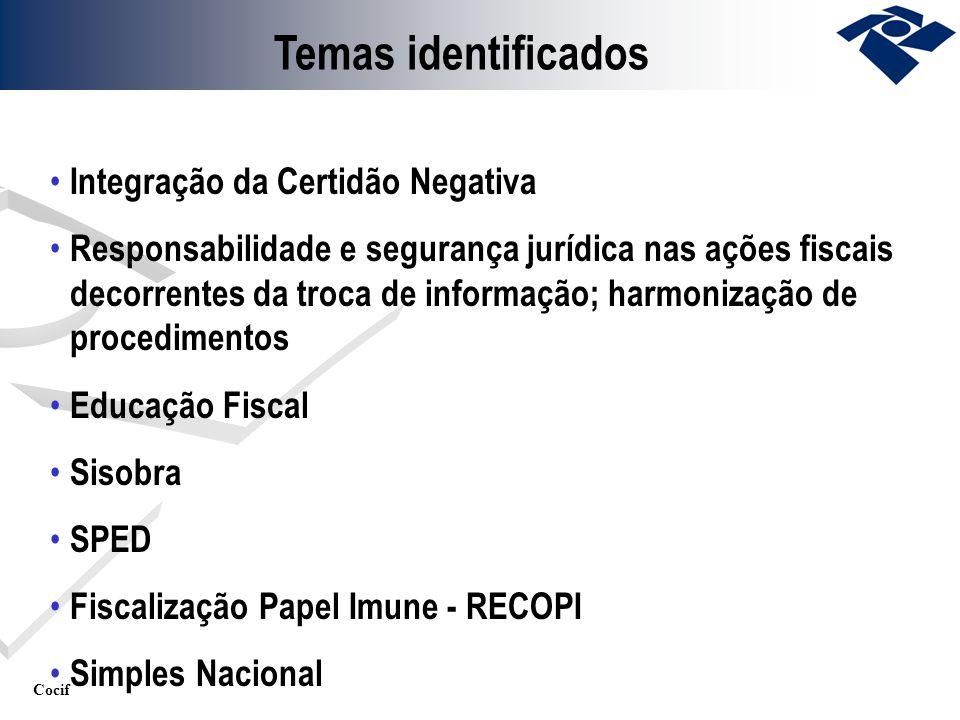 Cocif Integração da Certidão Negativa Responsabilidade e segurança jurídica nas ações fiscais decorrentes da troca de informação; harmonização de proc