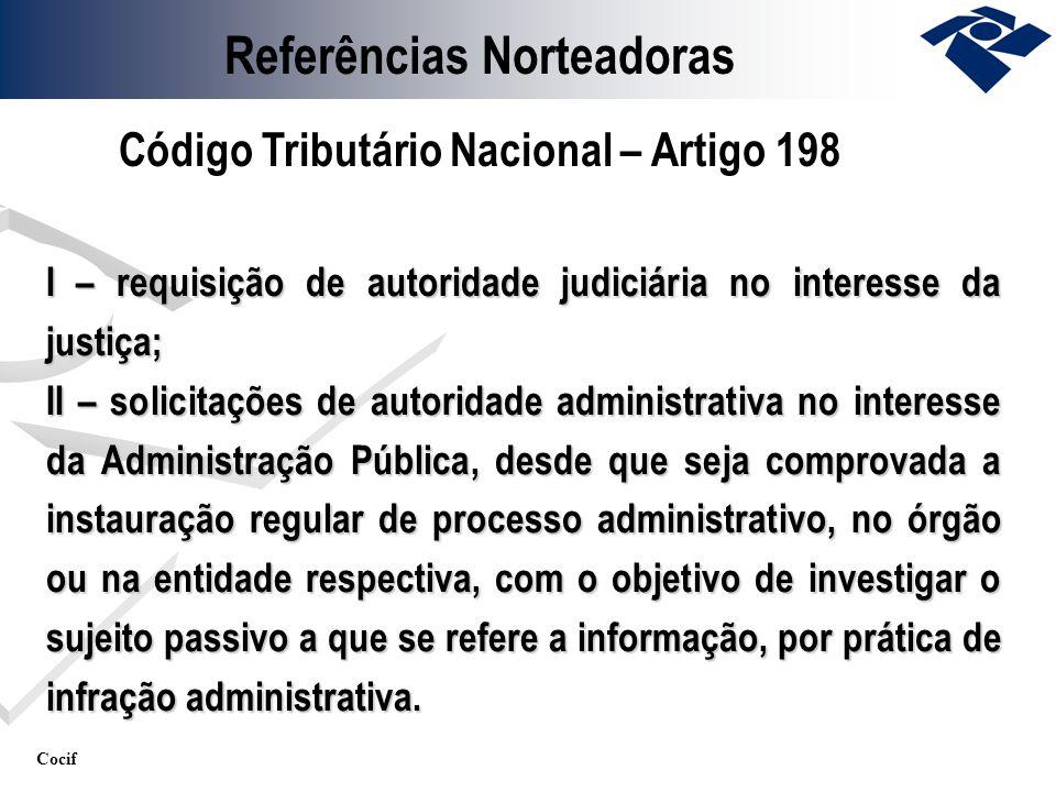 Cocif I – requisição de autoridade judiciária no interesse da justiça; II – solicitações de autoridade administrativa no interesse da Administração Pú