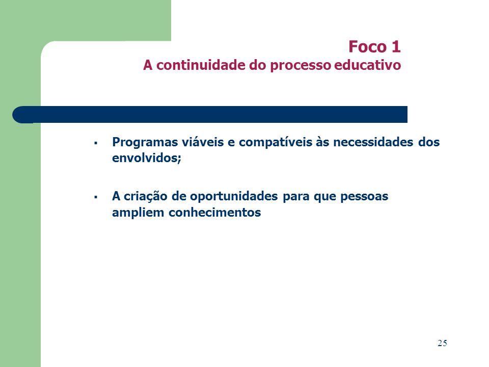 Foco 1 A continuidade do processo educativo Programas viáveis e compatíveis às necessidades dos envolvidos; A criação de oportunidades para que pessoas ampliem conhecimentos 25