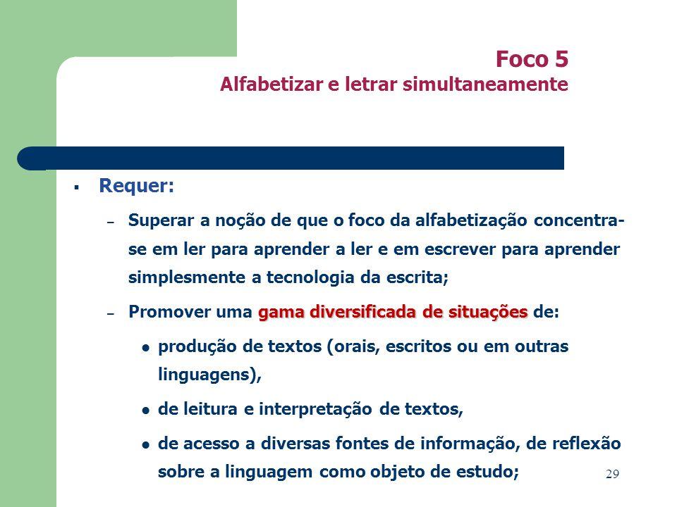 Foco 5 Alfabetizar e letrar simultaneamente Requer: – Superar a noção de que o foco da alfabetização concentra- se em ler para aprender a ler e em esc