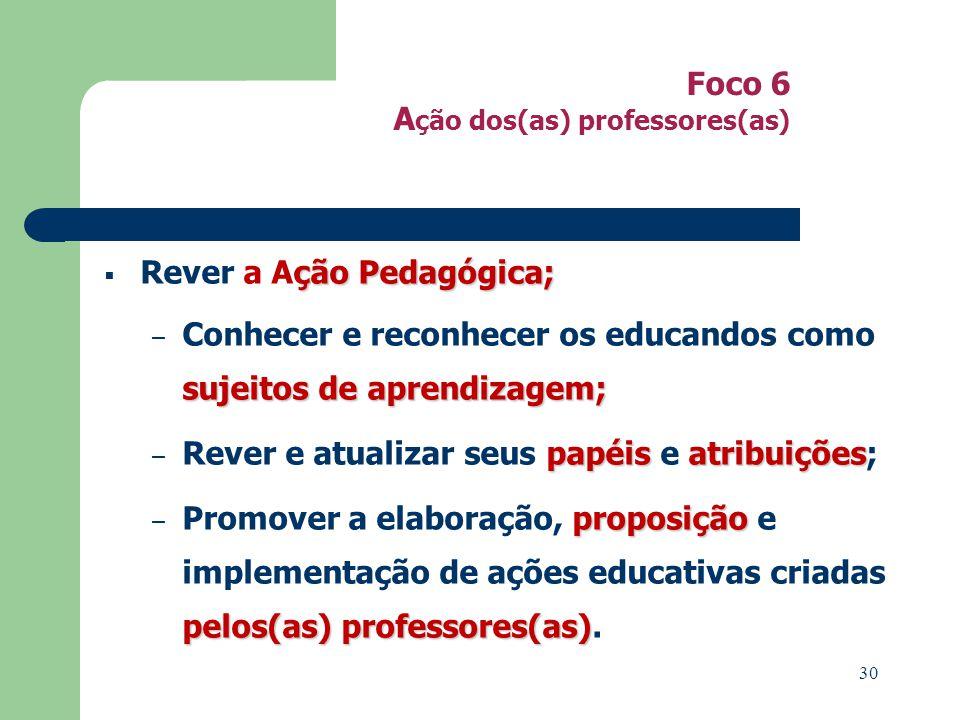 Foco 6 A ção dos(as) professores(as) ção Pedagógica; Rever a Ação Pedagógica; sujeitosde aprendizagem; – Conhecer e reconhecer os educandos como sujeitos de aprendizagem; papéisatribuições – Rever e atualizar seus papéis e atribuições; proposição pelos(as) professores(as) – Promover a elaboração, proposição e implementação de ações educativas criadas pelos(as) professores(as).