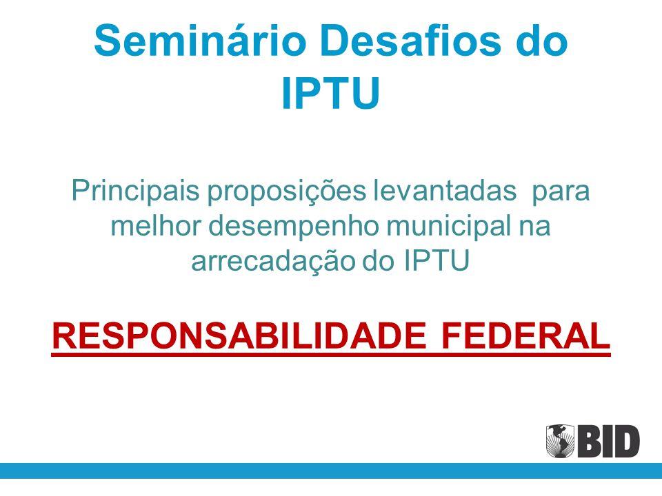 Seminário Desafios do IPTU Principais proposições levantadas para melhor desempenho municipal na arrecadação do IPTU RESPONSABILIDADE FEDERAL
