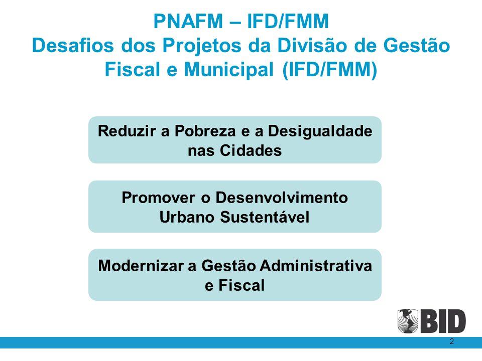 PNAFM – IFD/FMM Desafios dos Projetos da Divisão de Gestão Fiscal e Municipal (IFD/FMM) 2 Reduzir a Pobreza e a Desigualdade nas Cidades Promover o De