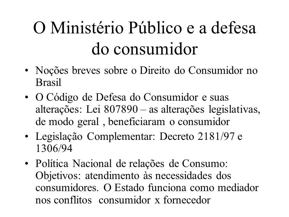 O Ministério Público e a defesa do consumidor Noções breves sobre o Direito do Consumidor no Brasil O Código de Defesa do Consumidor e suas alterações