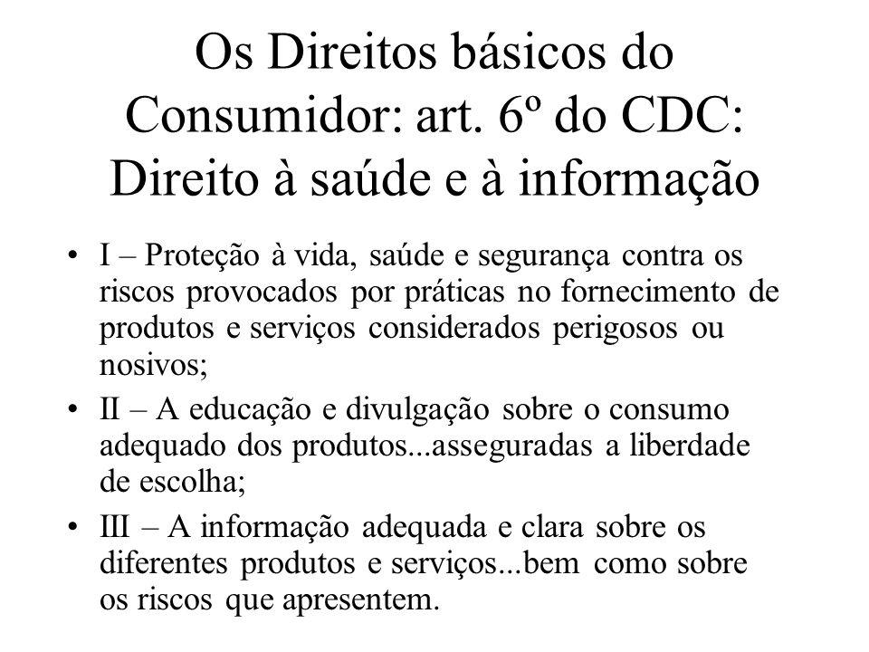 Os Direitos básicos do Consumidor: art. 6º do CDC: Direito à saúde e à informação I – Proteção à vida, saúde e segurança contra os riscos provocados p