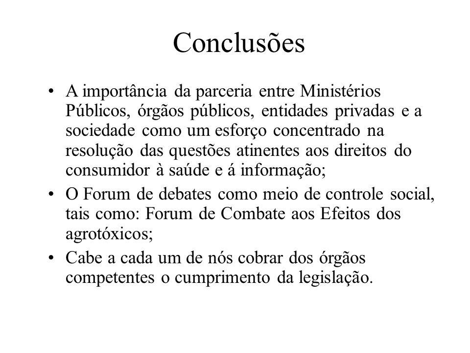 Conclusões A importância da parceria entre Ministérios Públicos, órgãos públicos, entidades privadas e a sociedade como um esforço concentrado na reso
