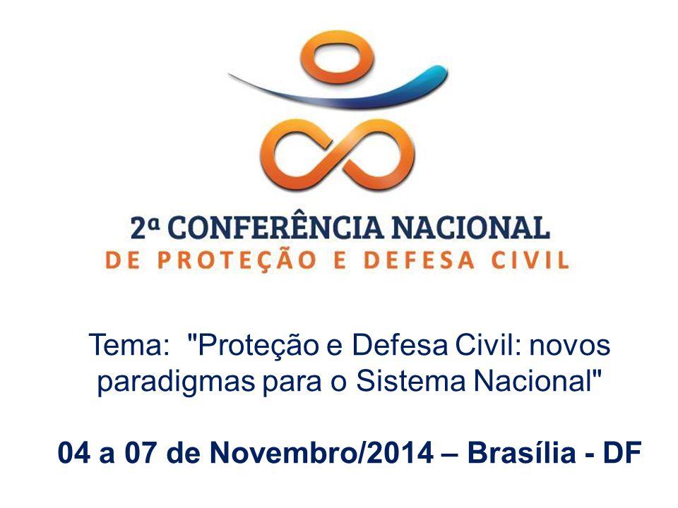 Tema: Proteção e Defesa Civil: novos paradigmas para o Sistema Nacional 04 a 07 de Novembro/2014 – Brasília - DF