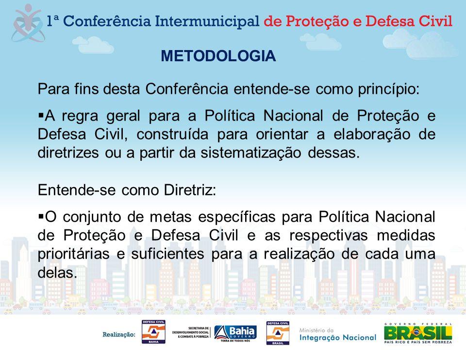 Para fins desta Conferência entende-se como princípio: A regra geral para a Política Nacional de Proteção e Defesa Civil, construída para orientar a e