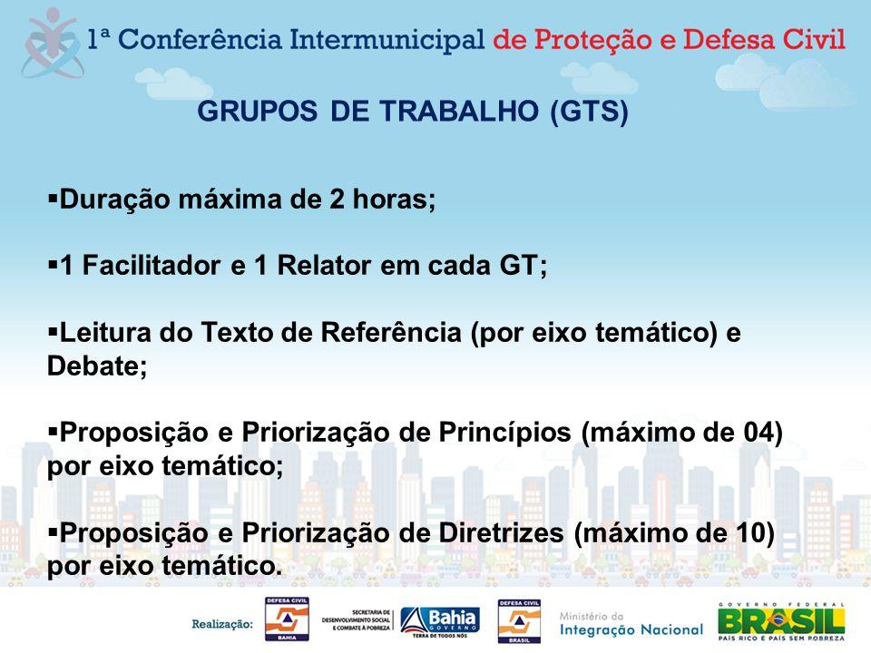 GRUPOS DE TRABALHO (GTS) Duração máxima de 2 horas; 1 Facilitador e 1 Relator em cada GT; Leitura do Texto de Referência (por eixo temático) e Debate;