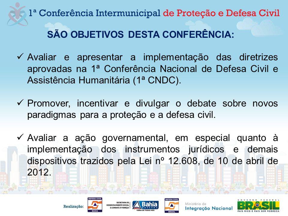 SÃO OBJETIVOS DESTA CONFERÊNCIA: Avaliar e apresentar a implementação das diretrizes aprovadas na 1ª Conferência Nacional de Defesa Civil e Assistênci