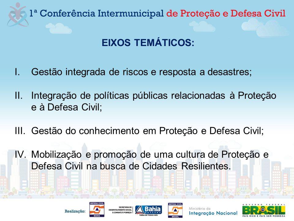 EIXOS TEMÁTICOS: I.Gestão integrada de riscos e resposta a desastres; II.Integração de políticas públicas relacionadas à Proteção e à Defesa Civil; II