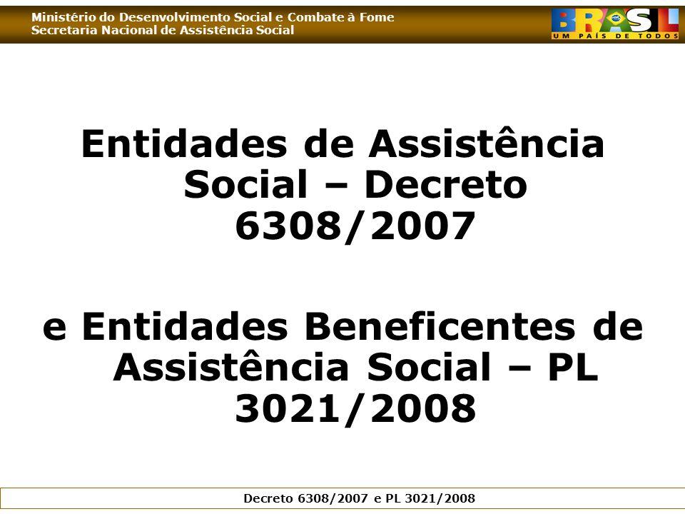 Ministério do Desenvolvimento Social e Combate à Fome Secretaria Nacional de Assistência Social Decreto 6308/2007 e PL 3021/2008 Entidades de Assistência Social – Decreto 6308/2007 e Entidades Beneficentes de Assistência Social – PL 3021/2008
