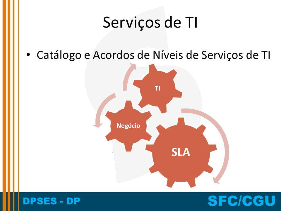 DPSES - DP SFC/CGU Serviços de TI Catálogo e Acordos de Níveis de Serviços de TI SLA Negócio TI