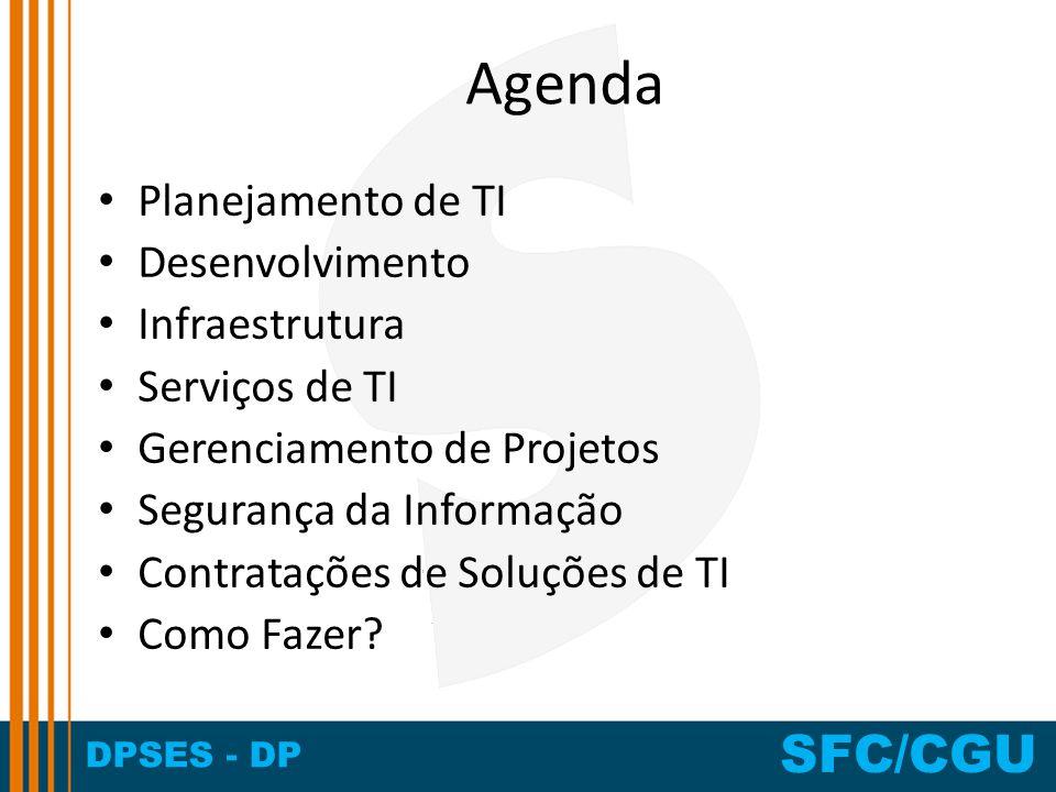DPSES - DP SFC/CGU Agenda Planejamento de TI Desenvolvimento Infraestrutura Serviços de TI Gerenciamento de Projetos Segurança da Informação Contrataç