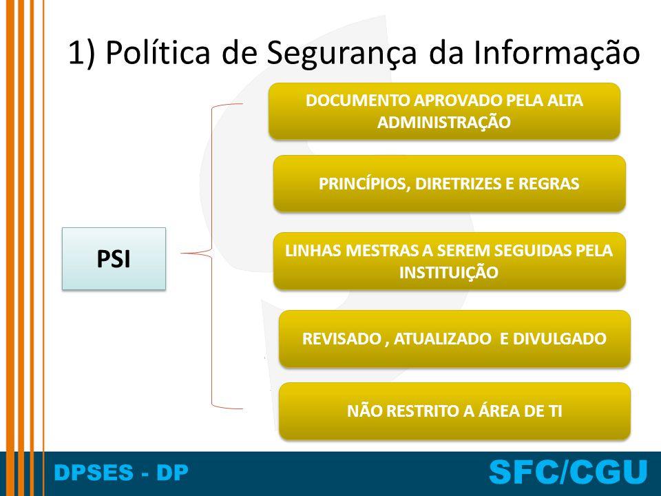 DPSES - DP SFC/CGU 1) Política de Segurança da Informação PSI DOCUMENTO APROVADO PELA ALTA ADMINISTRAÇÃO REVISADO, ATUALIZADO E DIVULGADO PRINCÍPIOS,