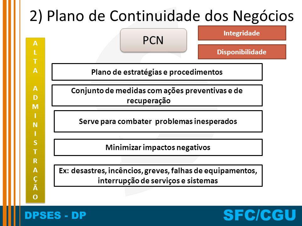 DPSES - DP SFC/CGU 2) Plano de Continuidade dos Negócios Plano de estratégias e procedimentos Serve para combater problemas inesperados Conjunto de me