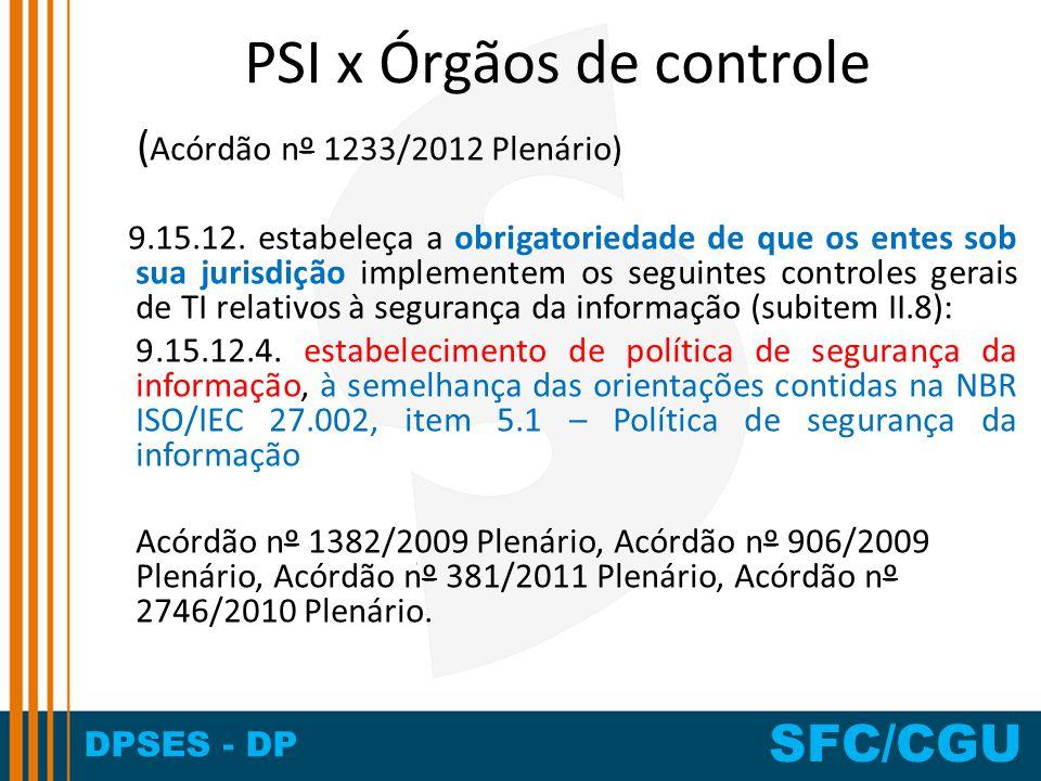 DPSES - DP SFC/CGU PSI x Órgãos de controle ( Acórdão nº 1233/2012 Plenário) 9.15.12. estabeleça a obrigatoriedade de que os entes sob sua jurisdição