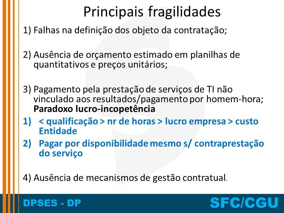 DPSES - DP SFC/CGU Principais fragilidades 1) Falhas na definição dos objeto da contratação; 2) Ausência de orçamento estimado em planilhas de quantit
