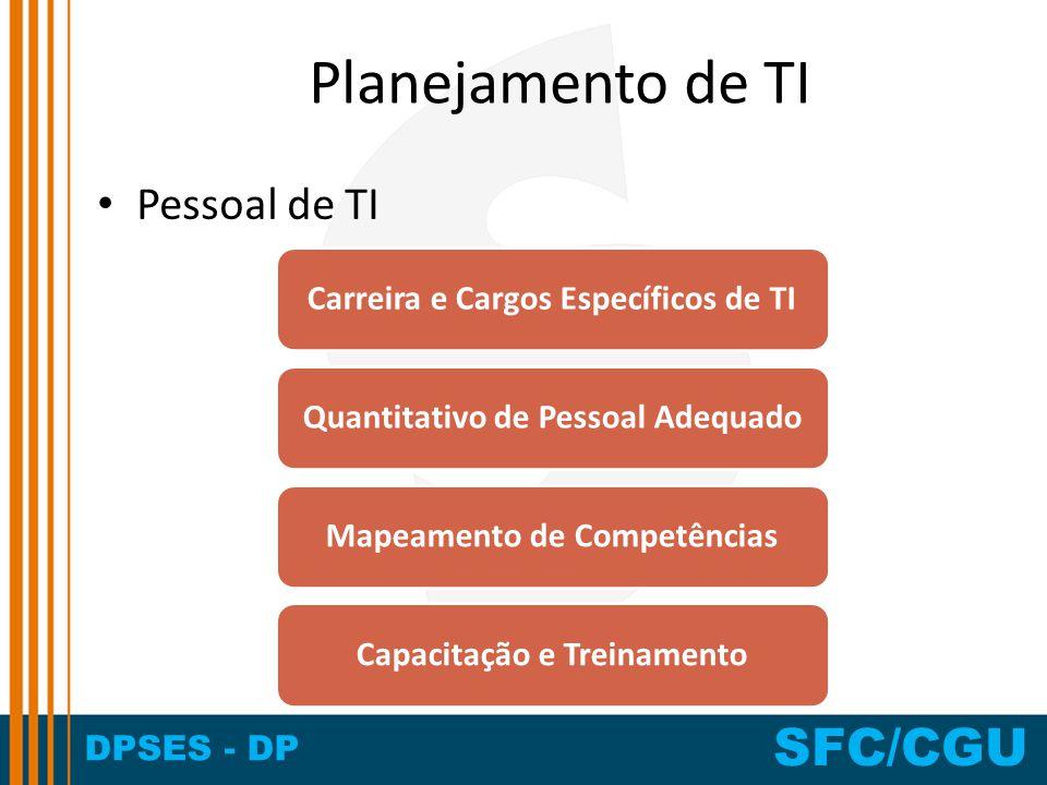 DPSES - DP SFC/CGU Planejamento de TI Pessoal de TI Carreira e Cargos Específicos de TIQuantitativo de Pessoal AdequadoMapeamento de CompetênciasCapac