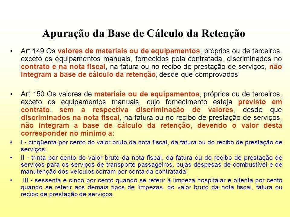 Apuração da Base de Cálculo da Retenção Art 149 Os valores de materiais ou de equipamentos, próprios ou de terceiros, exceto os equipamentos manuais,
