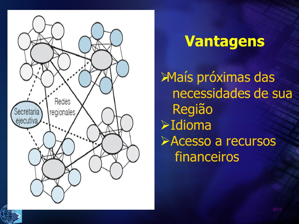 Vantagens Maís próximas das necessidades de sua Região Idioma Acesso a recursos financeiros