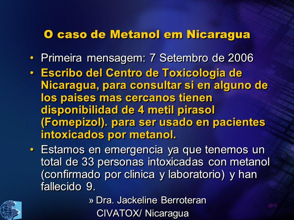 2011 O caso de Metanol em Nicaragua Primeira mensagem: 7 Setembro de 2006 Escribo del Centro de Toxicologia de Nicaragua, para consultar si en alguno de los paises mas cercanos tienen disponibilidad de 4 metil pirasol (Fomepizol).