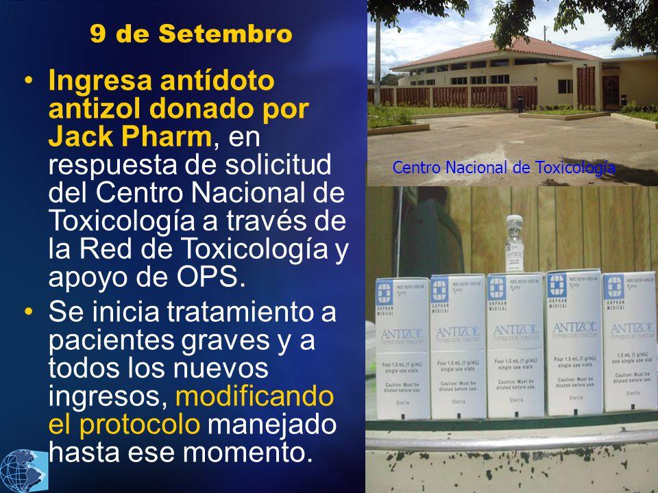2011 9 de Setembro Ingresa antídoto antizol donado por Jack Pharm, en respuesta de solicitud del Centro Nacional de Toxicología a través de la Red de Toxicología y apoyo de OPS.