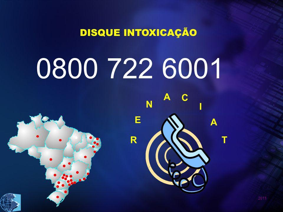 2011 DISQUE INTOXICAÇÃO 0800 722 6001 R E N A C I A T