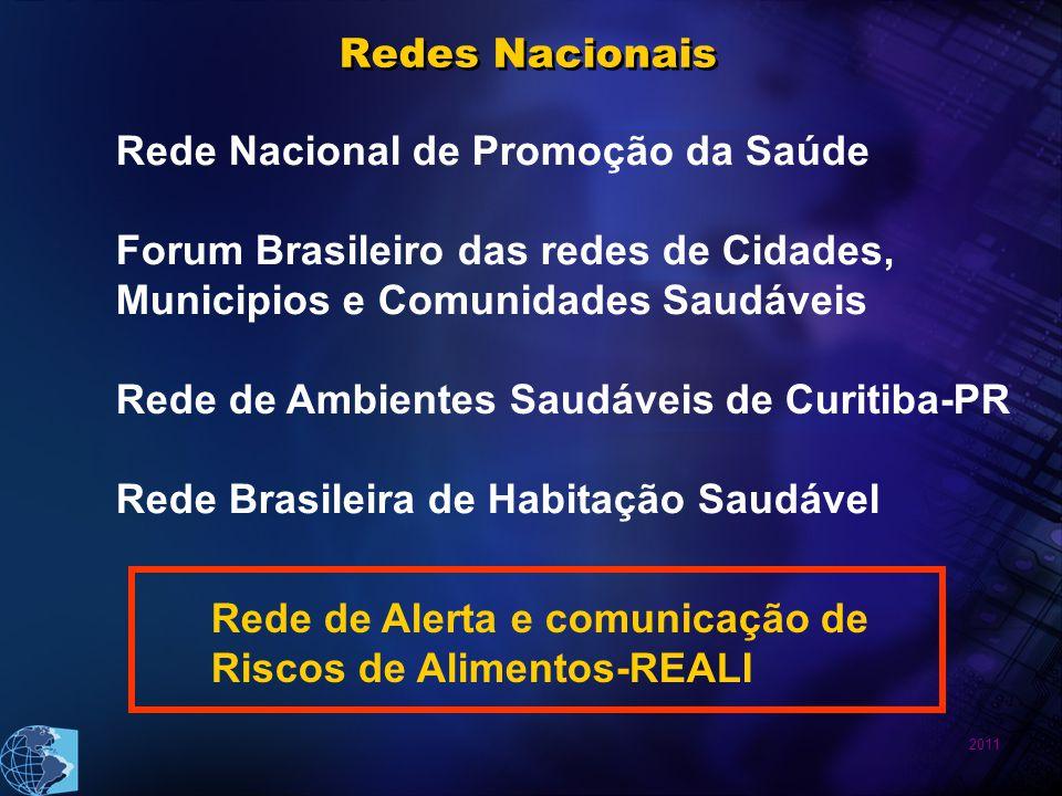 2011 Rede Nacional de Promoção da Saúde Forum Brasileiro das redes de Cidades, Municipios e Comunidades Saudáveis Rede de Ambientes Saudáveis de Curitiba-PR Rede Brasileira de Habitação Saudável Rede de Alerta e comunicação de Riscos de Alimentos-REALI Redes Nacionais