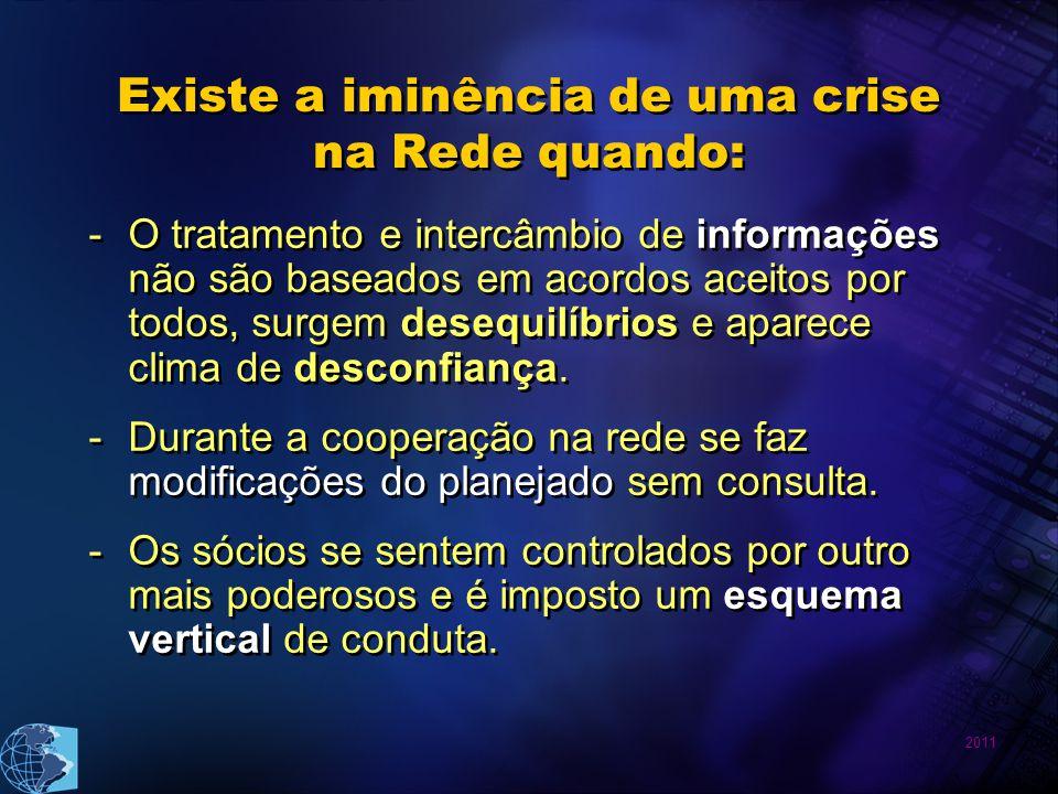 2011 Existe a iminência de uma crise na Rede quando: -O tratamento e intercâmbio de informações não são baseados em acordos aceitos por todos, surgem