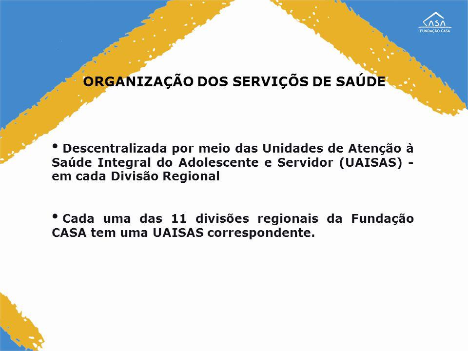 ORGANIZAÇÃO DOS SERVIÇÕS DE SAÚDE Descentralizada por meio das Unidades de Atenção à Saúde Integral do Adolescente e Servidor (UAISAS) - em cada Divis
