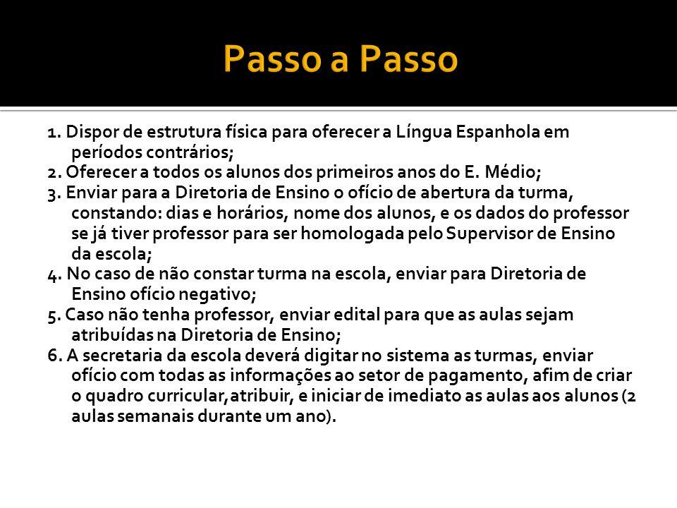 1. Dispor de estrutura física para oferecer a Língua Espanhola em períodos contrários; 2. Oferecer a todos os alunos dos primeiros anos do E. Médio; 3
