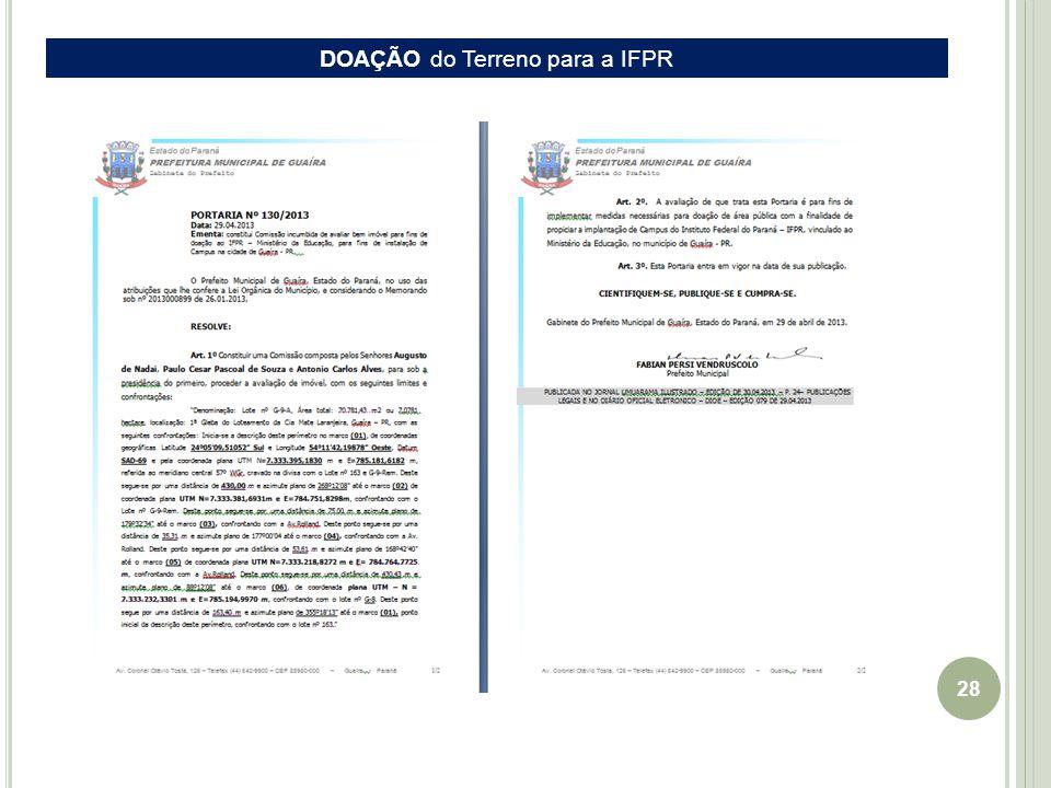 28 EIXO Guaíra-Cascavel DOAÇÃO do Terreno para a IFPR