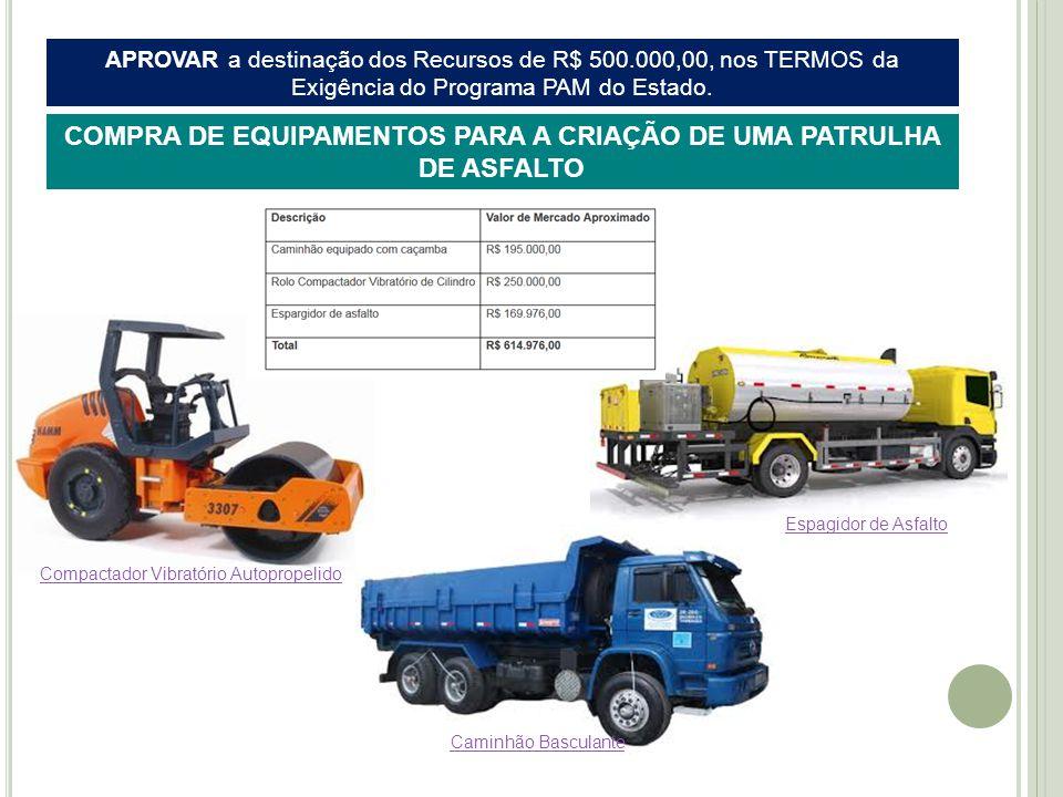 APROVAR a destinação dos Recursos de R$ 500.000,00, nos TERMOS da Exigência do Programa PAM do Estado.