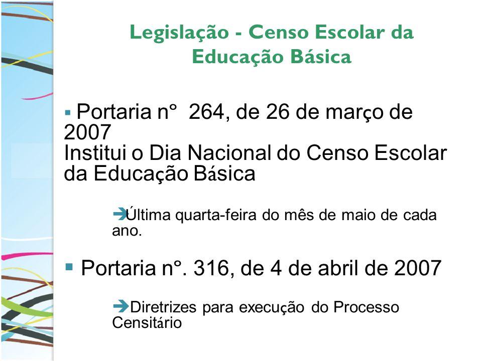 Legislação - Censo Escolar da Educação Básica Portaria n º 264, de 26 de mar ç o de 2007 Institui o Dia Nacional do Censo Escolar da Educa ç ão B á sica Ú ltima quarta-feira do mês de maio de cada ano.