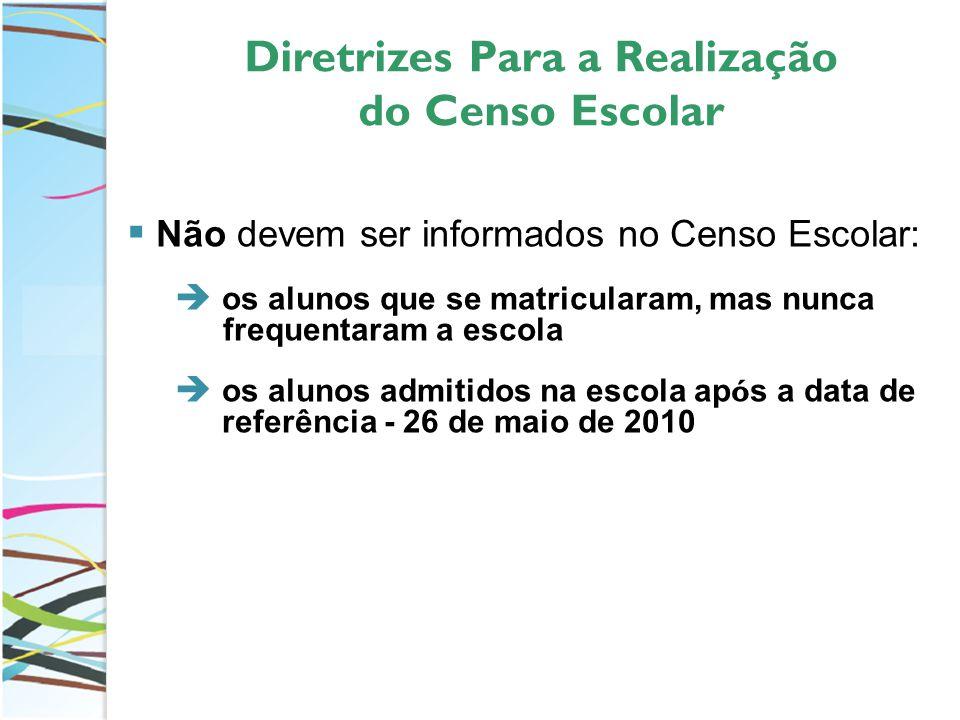 Diretrizes Para a Realização do Censo Escolar Não devem ser informados no Censo Escolar: os alunos que se matricularam, mas nunca frequentaram a escola os alunos admitidos na escola ap ó s a data de referência - 26 de maio de 2010