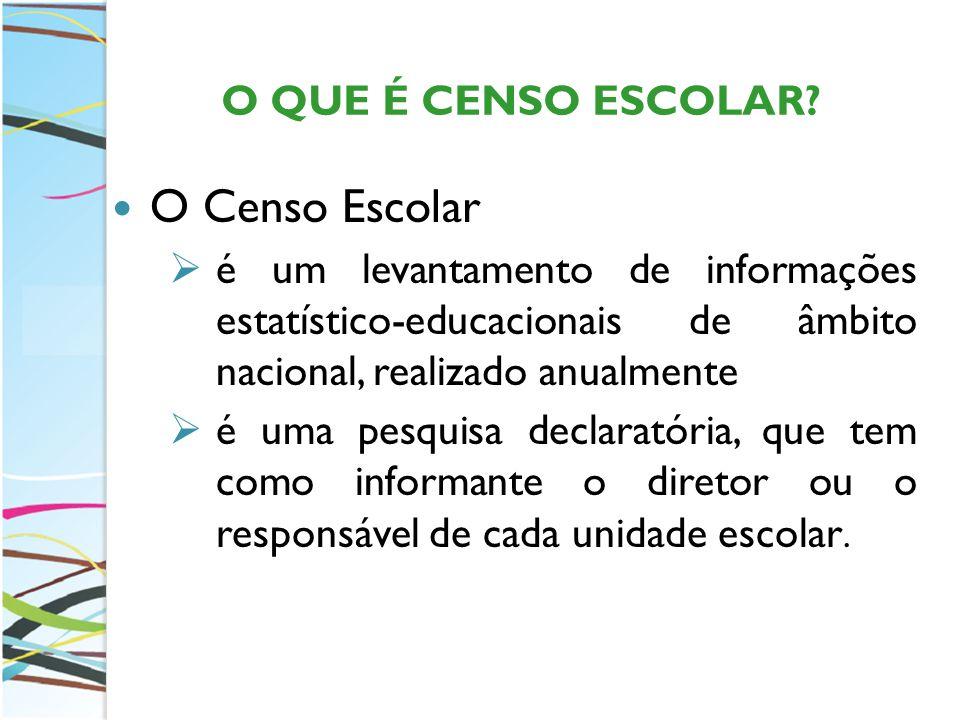 Diretrizes para a Realização do Censo Escolar Os dados informados no Censo Escolar, devem ser referentes aos alunos matriculados e efetivamente frequentes na escola na data de referência.