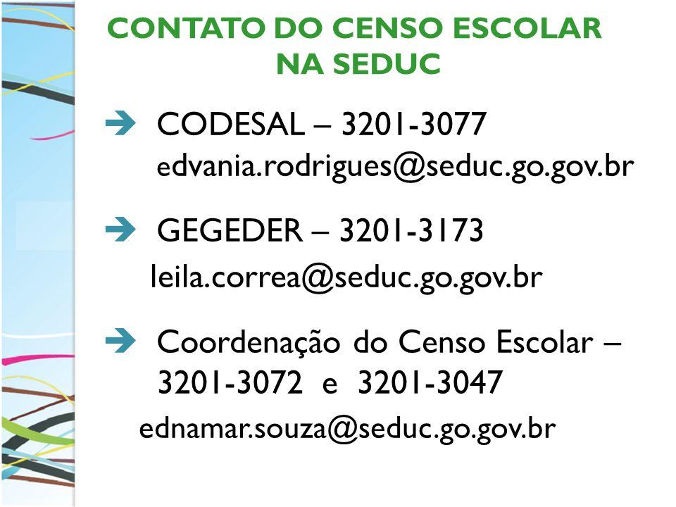 CONTATO DO CENSO ESCOLAR NA SEDUC CODESAL – 3201-3077 e dvania.rodrigues@seduc.go.gov.br GEGEDER – 3201-3173 leila.correa@seduc.go.gov.br Coordenação do Censo Escolar – 3201-3072 e 3201-3047 ednamar.souza@seduc.go.gov.br