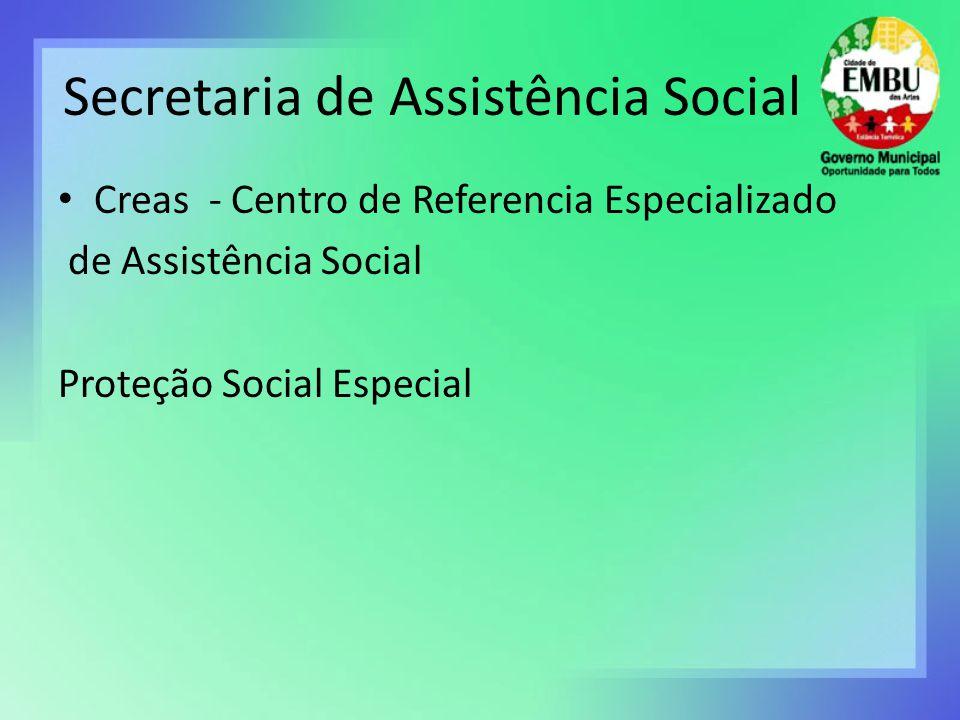 Secretaria de Assistência Social Creas - Centro de Referencia Especializado de Assistência Social Proteção Social Especial