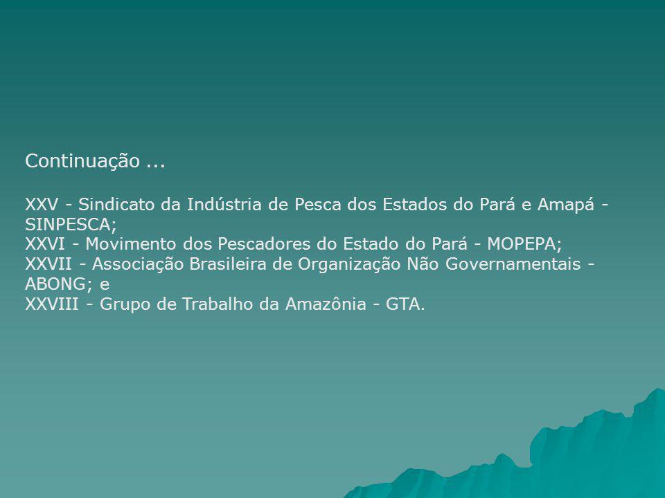Continuação... XXV - Sindicato da Indústria de Pesca dos Estados do Pará e Amapá - SINPESCA; XXVI - Movimento dos Pescadores do Estado do Pará - MOPEP